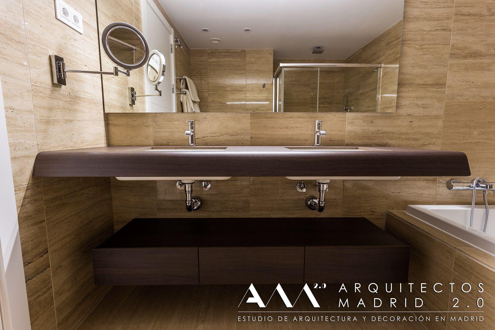 encimera con 2 lavabos incorporados de madera, diseño baños