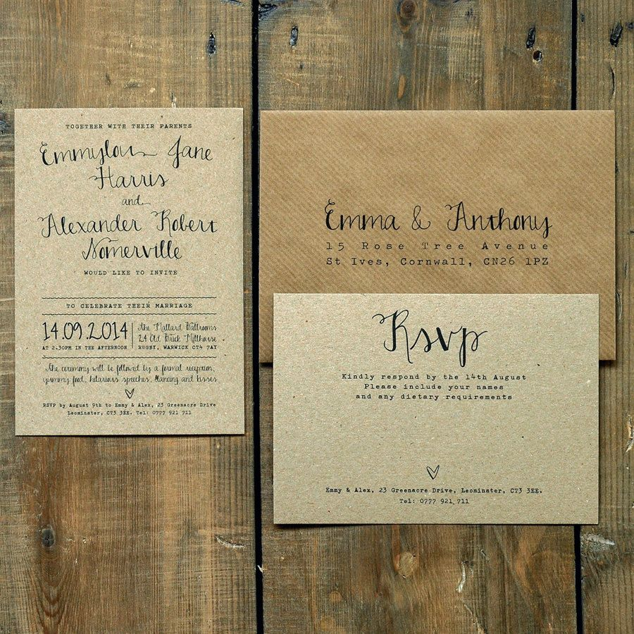 Calligraphy Wedding Invitation Set on Recycled Rustic