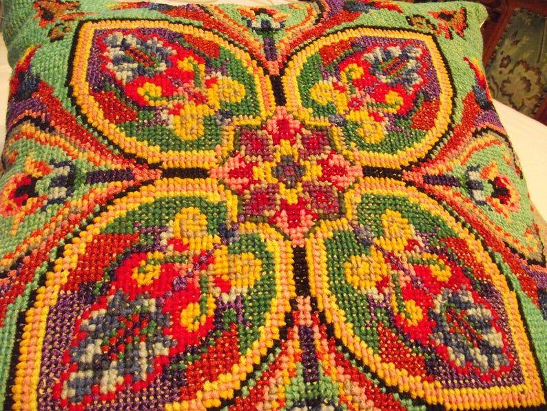 Colorful cross-stitch pillow, embroidered sheet, black boho mosaic geometrical boho decorative pillow cover 15 x 15 (38 x 37 cm)