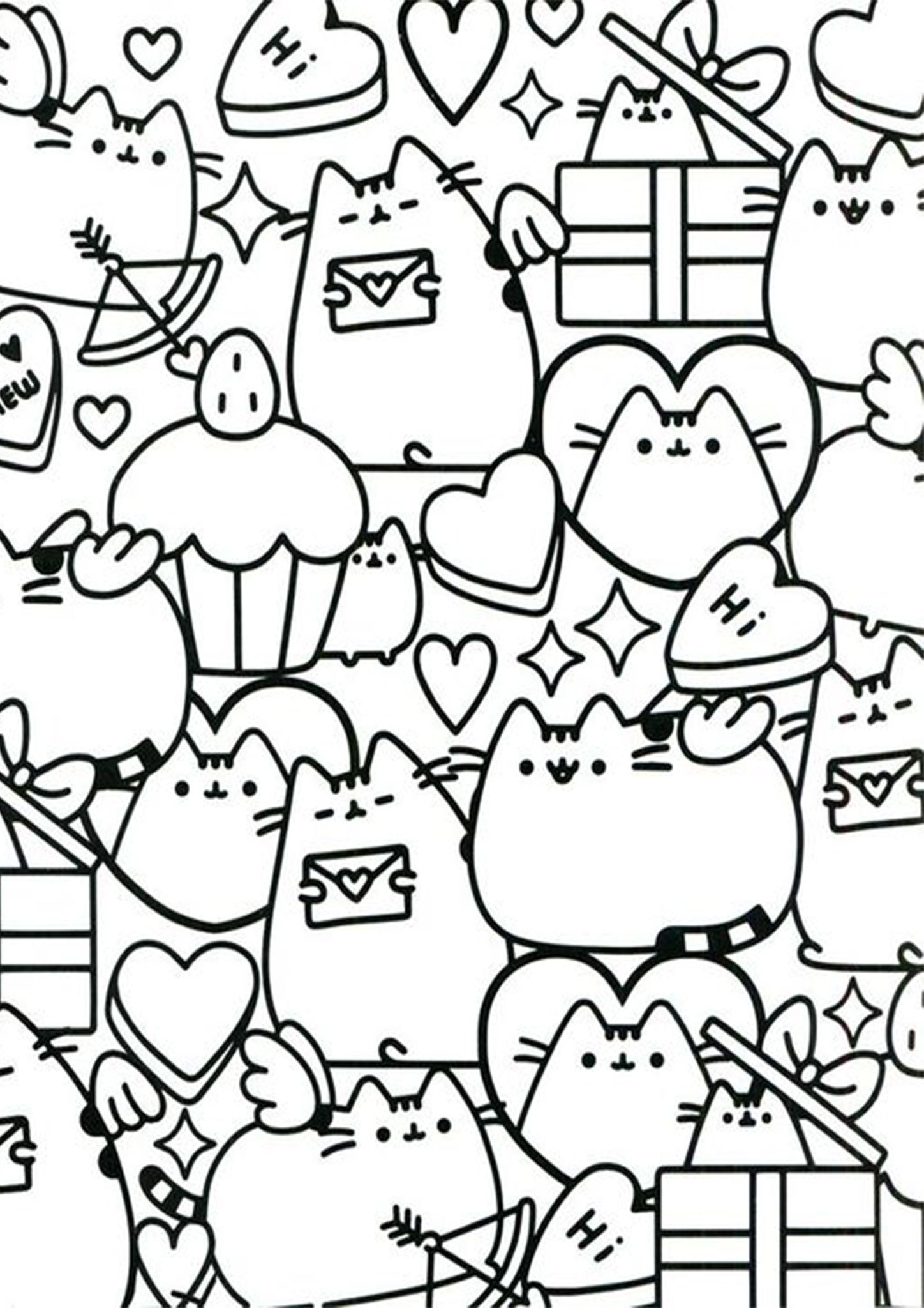 Free Easy To Print Pusheen Coloring Pages In 2020 Pusheen Coloring Pages Valentine Coloring Pages Unicorn Coloring Pages