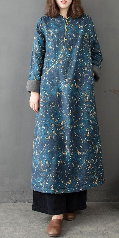 Vintage Cute Blue Maxi Cotton Linen Dresses Women Loose Cheongsam Q17124
