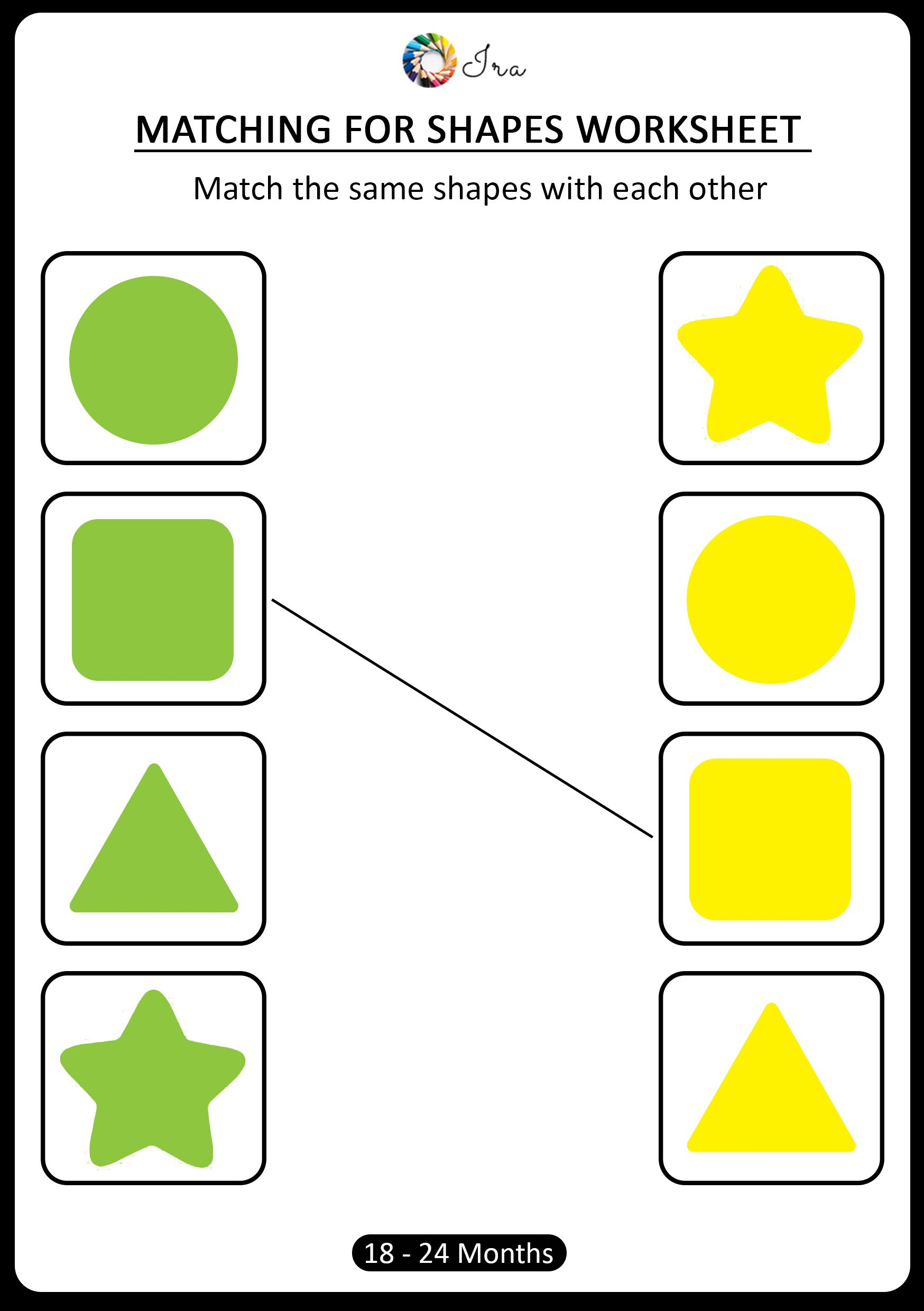 Download Free Matching Shapes Worksheets For 18 24 Months Ira Parenting Atividades [ 2480 x 1748 Pixel ]