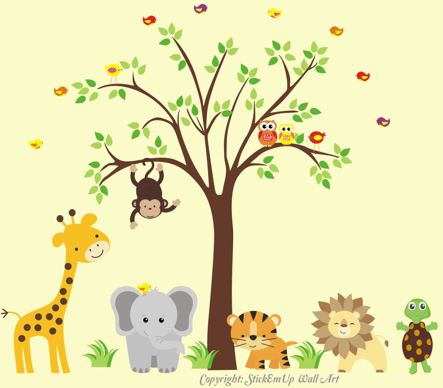 Nursery Wall Decal with Giraffe, Elephant, Tiger, Lion, Turtle ...
