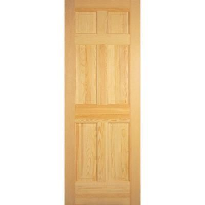 Builder S Choice 28 In X 80 In 6 Panel Solid Core Unfinished Clear Pine Single Prehung Interior Door Prehung Interior Doors Doors Interior Clear Pine Doors