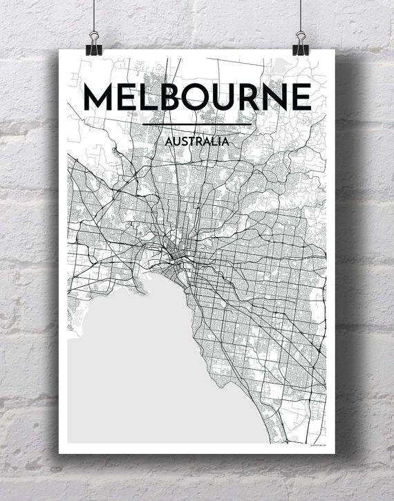 Black white melbourne city map print