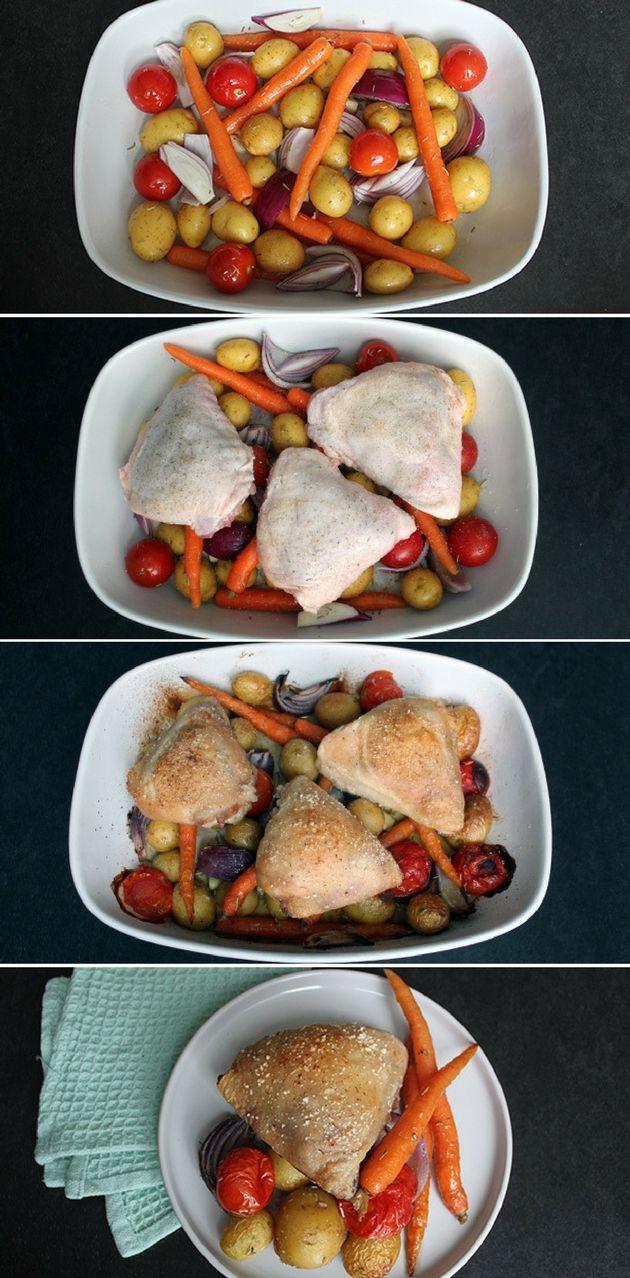 Virkelig nem og lækker opskrift på kyllingeoverlår, som tilberedes i et fad med herlige grøntsager. Hverdagsmad, når det er allerbedst.