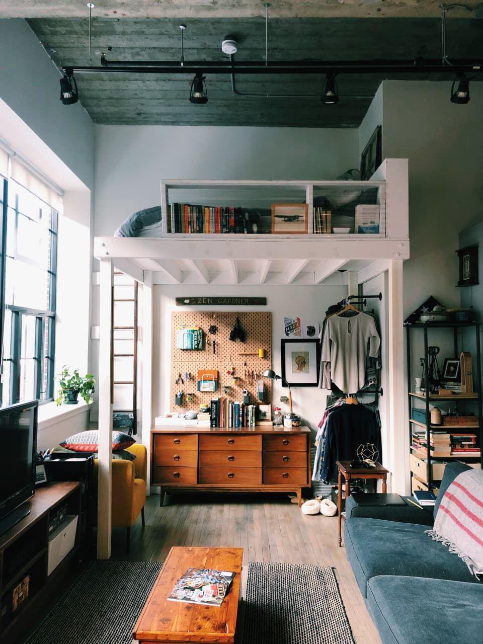 A Small Boston Studio Apartment Has One Of The Best Diy Bedroom Lofts Ever Loft Design Home Bedroom Studio