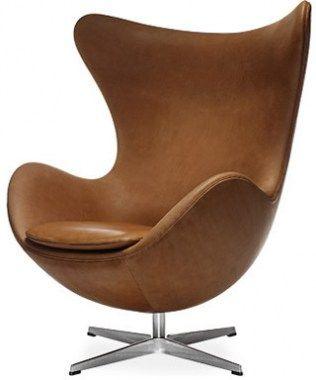 Fauteuils egg chair cognac leer zetel stoel leer for The egg stoel