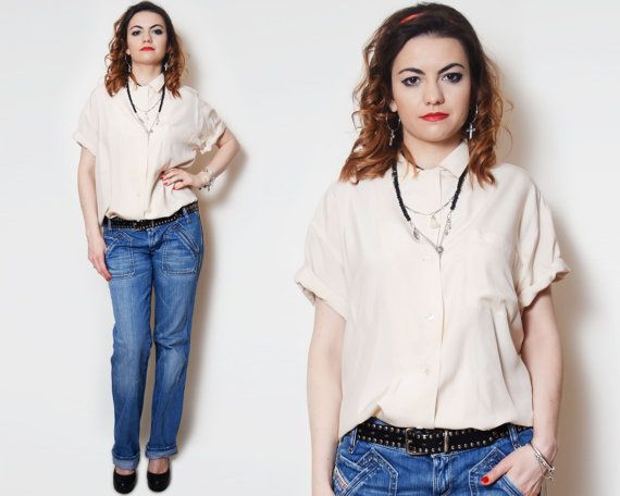 Boho Top Shirt Short Sleeve High Neck Preppy Blouse Cream Beige Tops Silk Shirts Office On Up Down Minimalist Collar Oxford