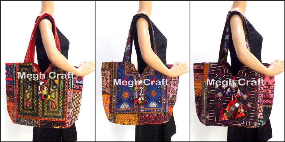 Indian-Designer-Women-handmade-Embroidery-Mirror-Work-Ladies-Shoulder-Bag-Purse