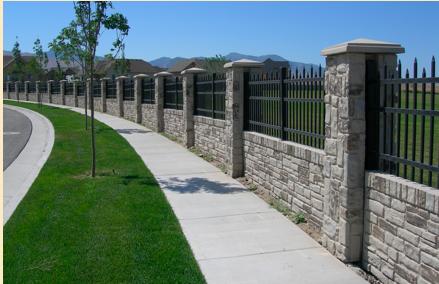Stone And Iron Fend Fence Design Fence Gate Design Brick Fence