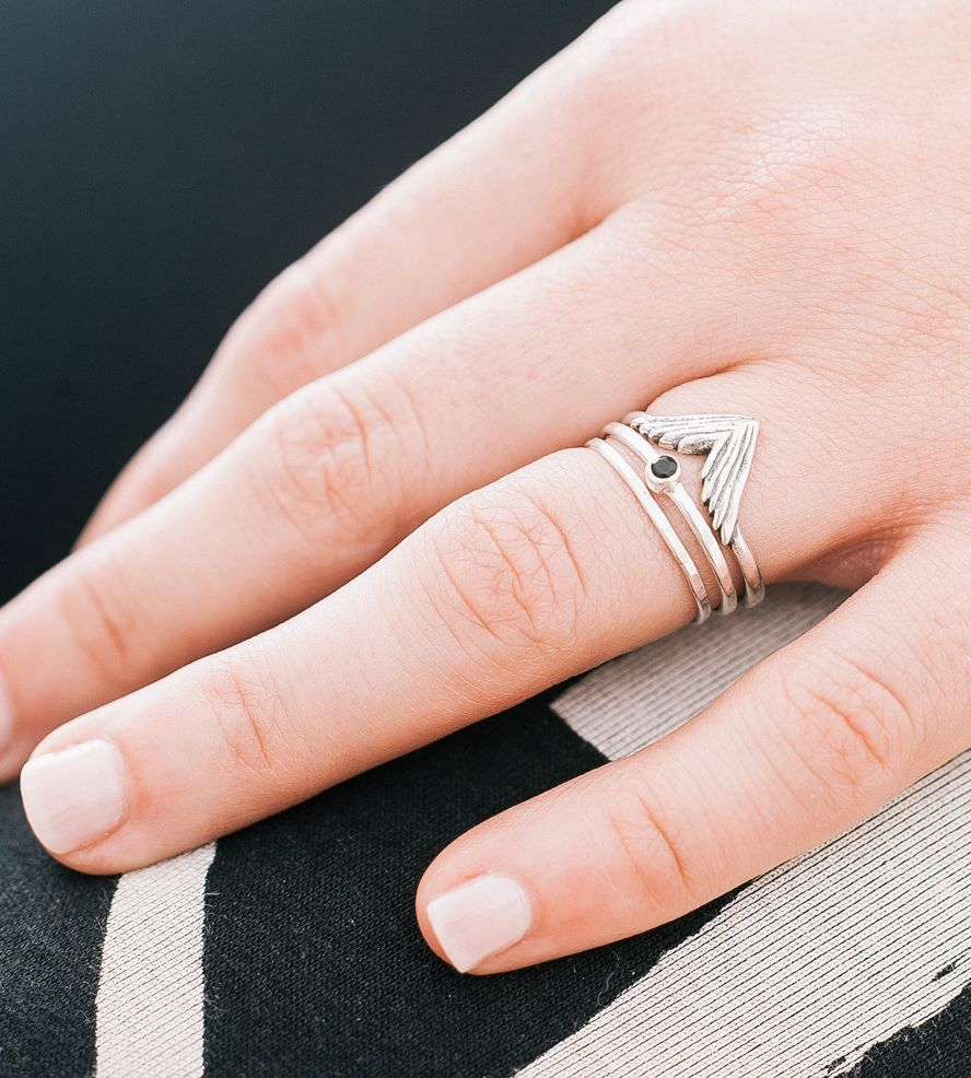 Simple Take Flight Wing, Onyx & Thin Stacking Ring Set | Ring, Jewel ...