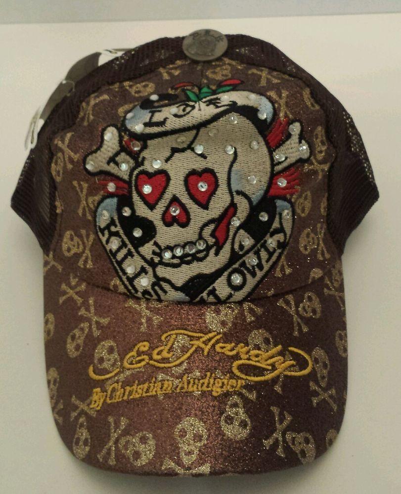 Vintage Hat Tattoos: Ed Hardy Cap Christian Audigier Love Kills Slowly Brown