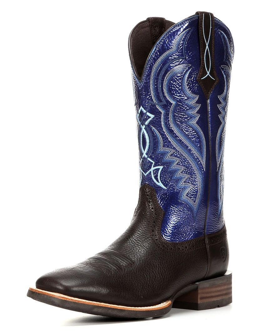 Ariat Men's Fast Time Boot - Cowboy Coffee / Blue Hurricane 10016284