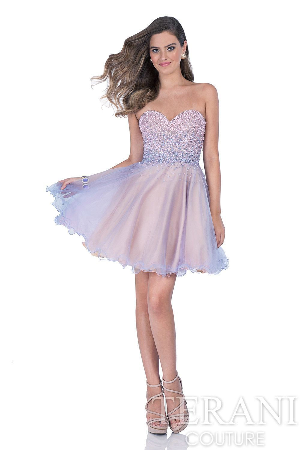 87b0e877a1 Terani Style 1611P0106 Sweetheart party dress with beaded hombre  embellishments…