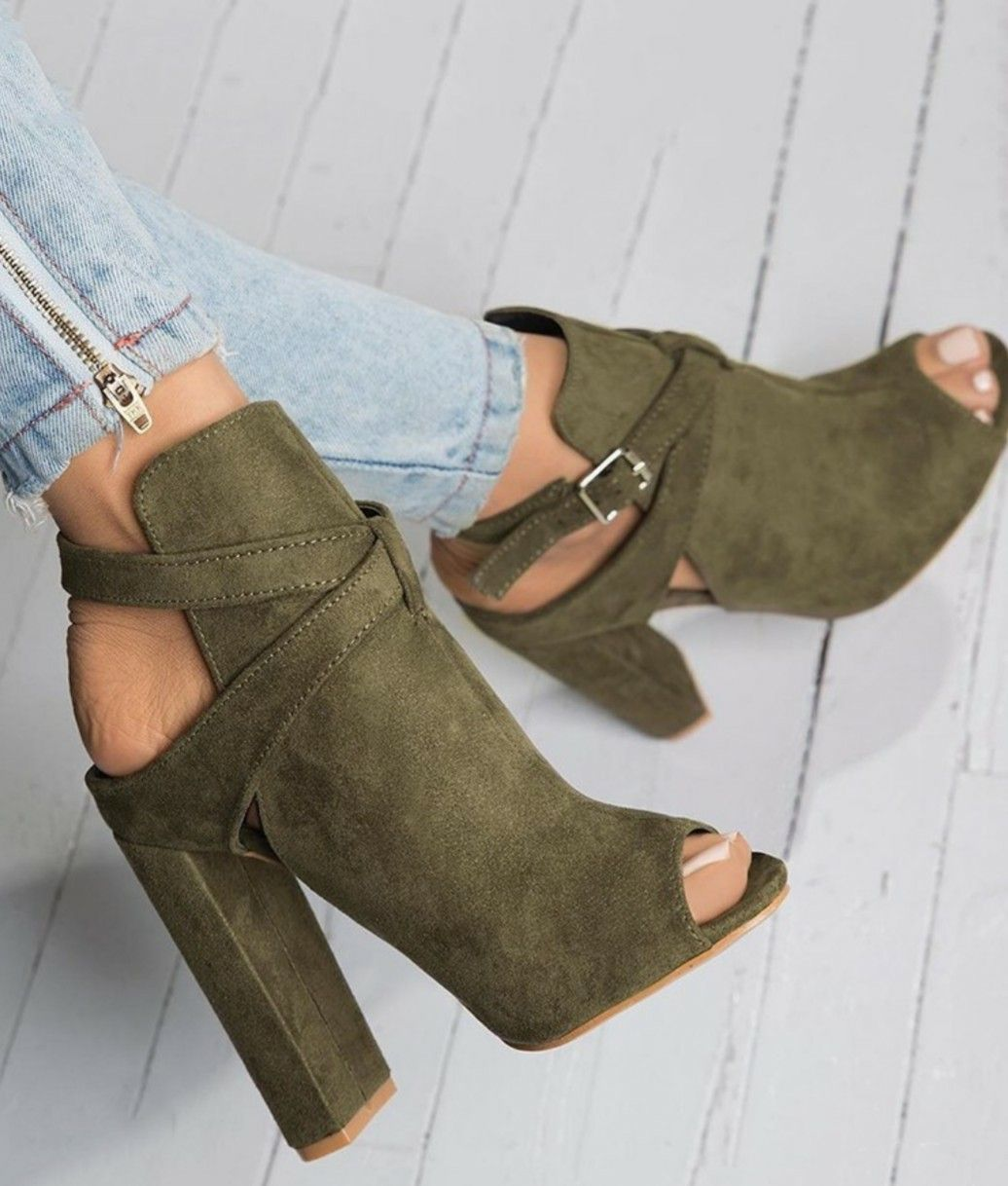 Suede Booties in an awesome Sage Green. Beautiful Shoes fbc3424c2af