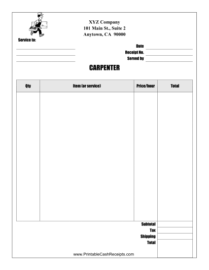 This Carpenter Receipt Is Designed To Be Used By A Carpenter Or Handyman Free To Download And Print Free Receipt Template Invoice Template Receipt Template