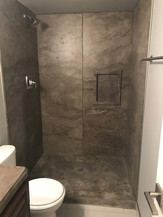 Concrete Shower Panels Sizes Up To 4 X 8 1 2 Concrete Shower Shower Panels Shower Remodel