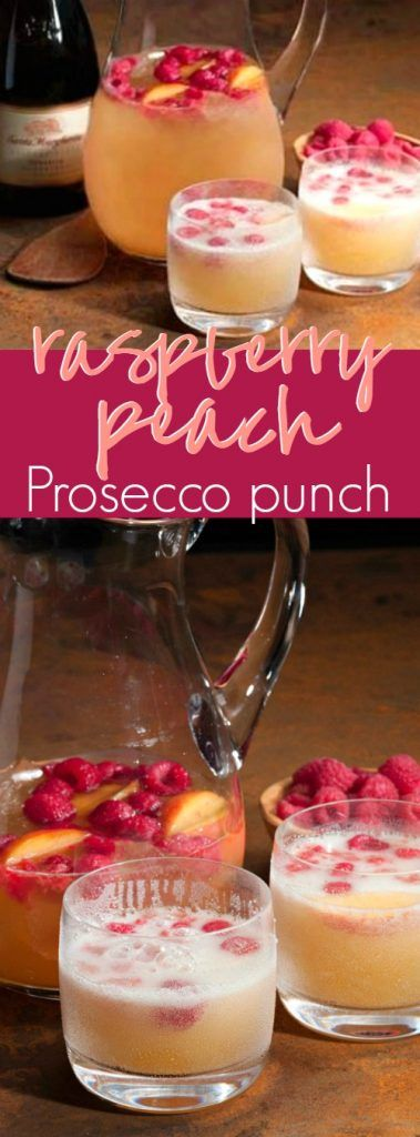 Sparkling Sweet Raspberry Peach Prosecco Punch Recipe #alcoholpunchrecipes