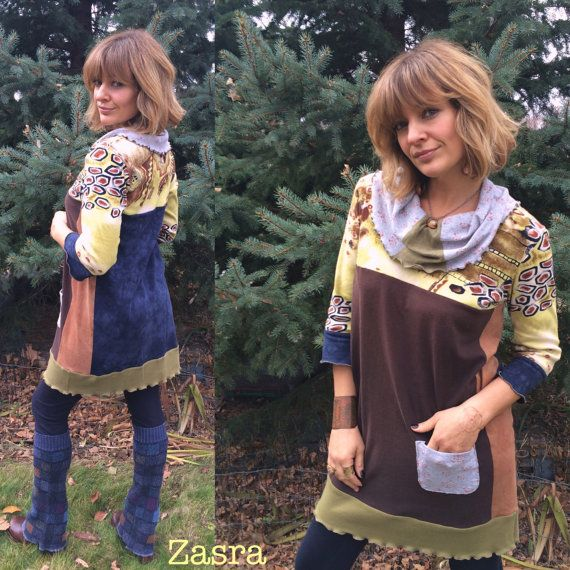 Eco Tunic Shirt sizeM/L eco clothingurban tunicpatchwork by zasra