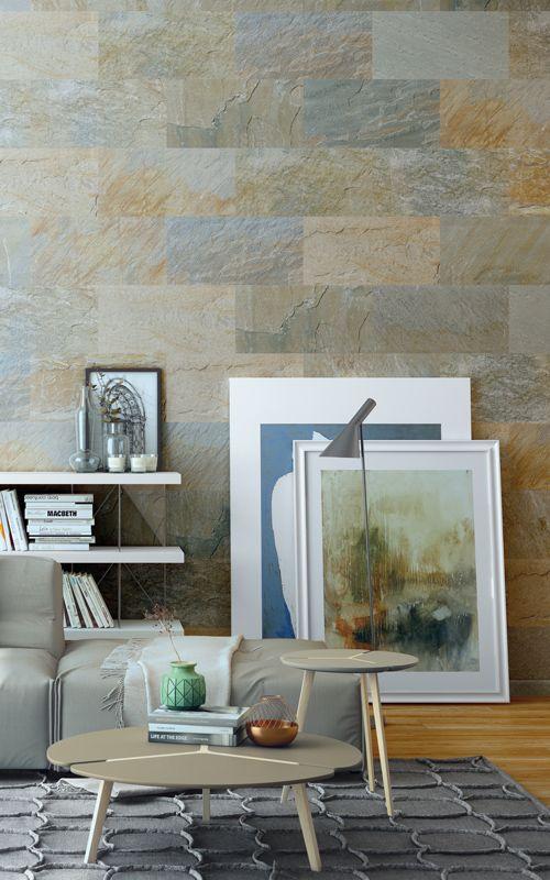 wohnzimmer mit grauer steinwand - boden und wände einrichten ganz