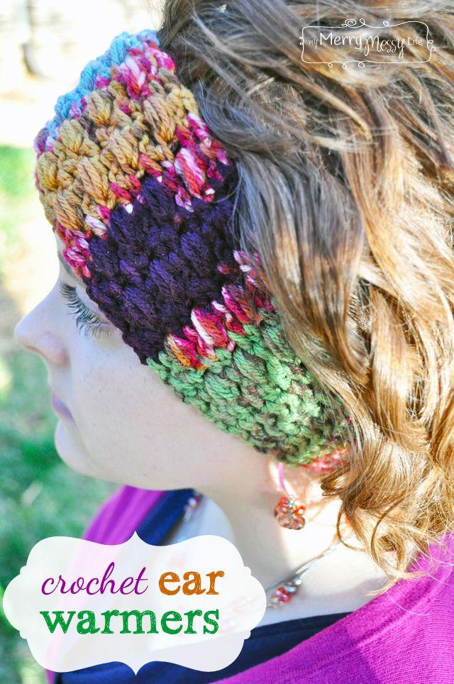 Crochet Puff Stitch Ear Warmers - Free Pattern | Pinterest | Los ...
