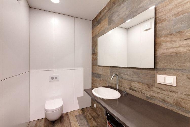 GroBartig Wohnung Einrichten Grau Konsole Badezimmer Holz Wand Fussboden