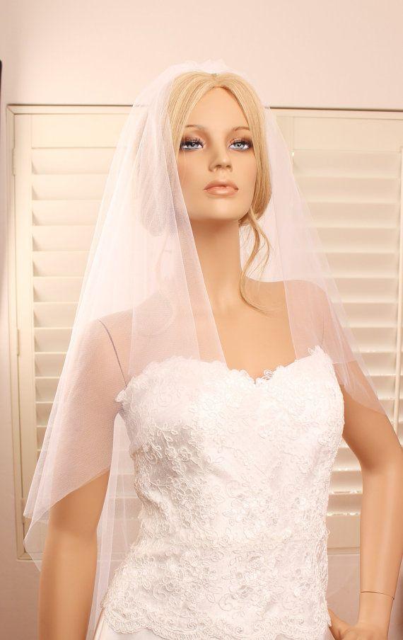 2 tier veil, wedding veil, fingertip length veil, tulle veil, bridal veil, 2 layer veil, long wedding veil, wedding veil fingertip length