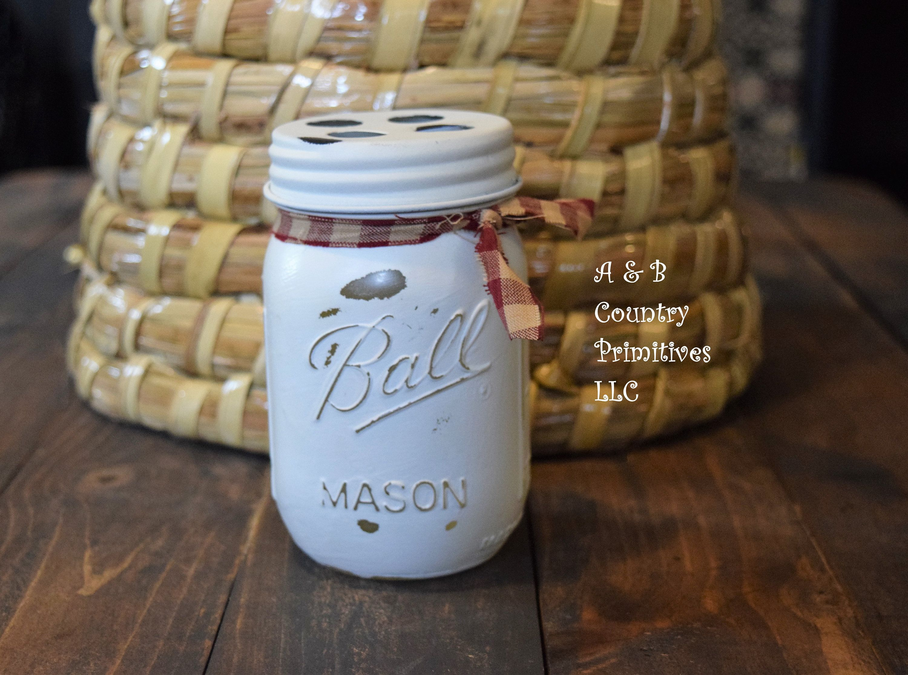Distressed White Mason Jar Toothbrush Holder, Country
