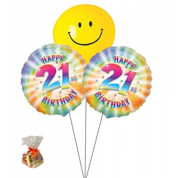 Happy 21st Birthday Sweet Balloon With Smily Face BalloonBunch Of Three