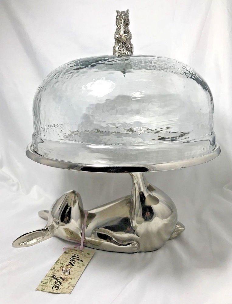 Rabbit Cake Stand Round Metal Glass Dome Lid Large Decor Pastry Display Dessert Ebay Cristais Vidro