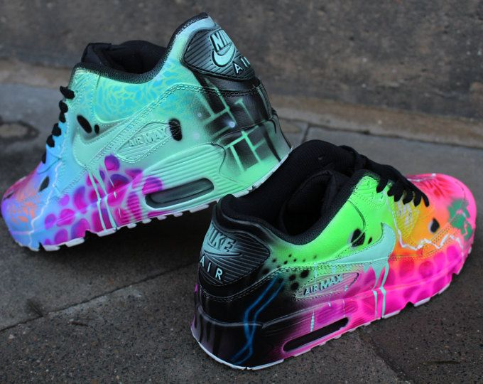 "Custom Nike Air max 90 mint Black Abstract graffiti Drip Sneaker *UNIKAT* Rare ""SALE"" Price for a short time !!!"