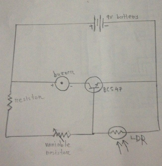 Schematic diagram of laser alarm using BC547 transistor. # ...