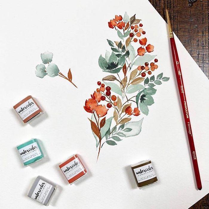 Fleurs d'automne, une branche fleurie avec feuilles à couleur automne, peinture aquarelle, dessin feuille d'arbre, automne dessin nostalgie