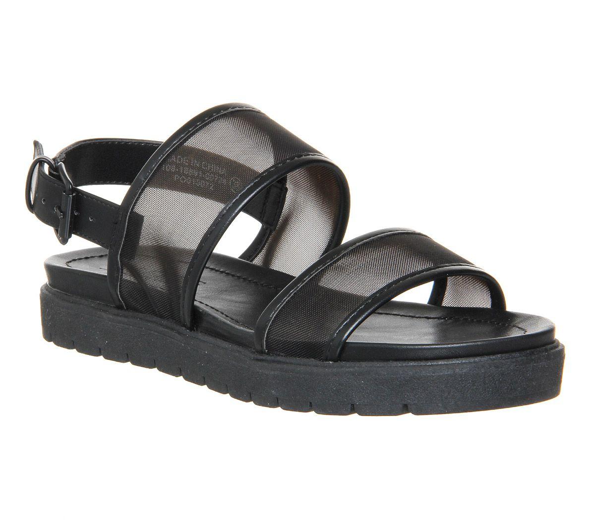 Black mesh sandals - Office Optic Double Strap Sling Sandal Black Mesh Sandals