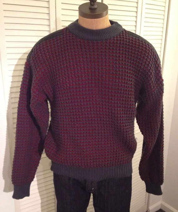 Vintage MENS Street Scenes chunky knit sweater with by pandaJpanda, $28.00