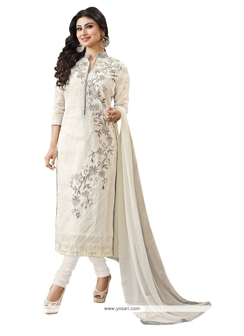63024dc273 Awesome Embroidered Work Off White Churidar Designer Suit Model: YOS6927