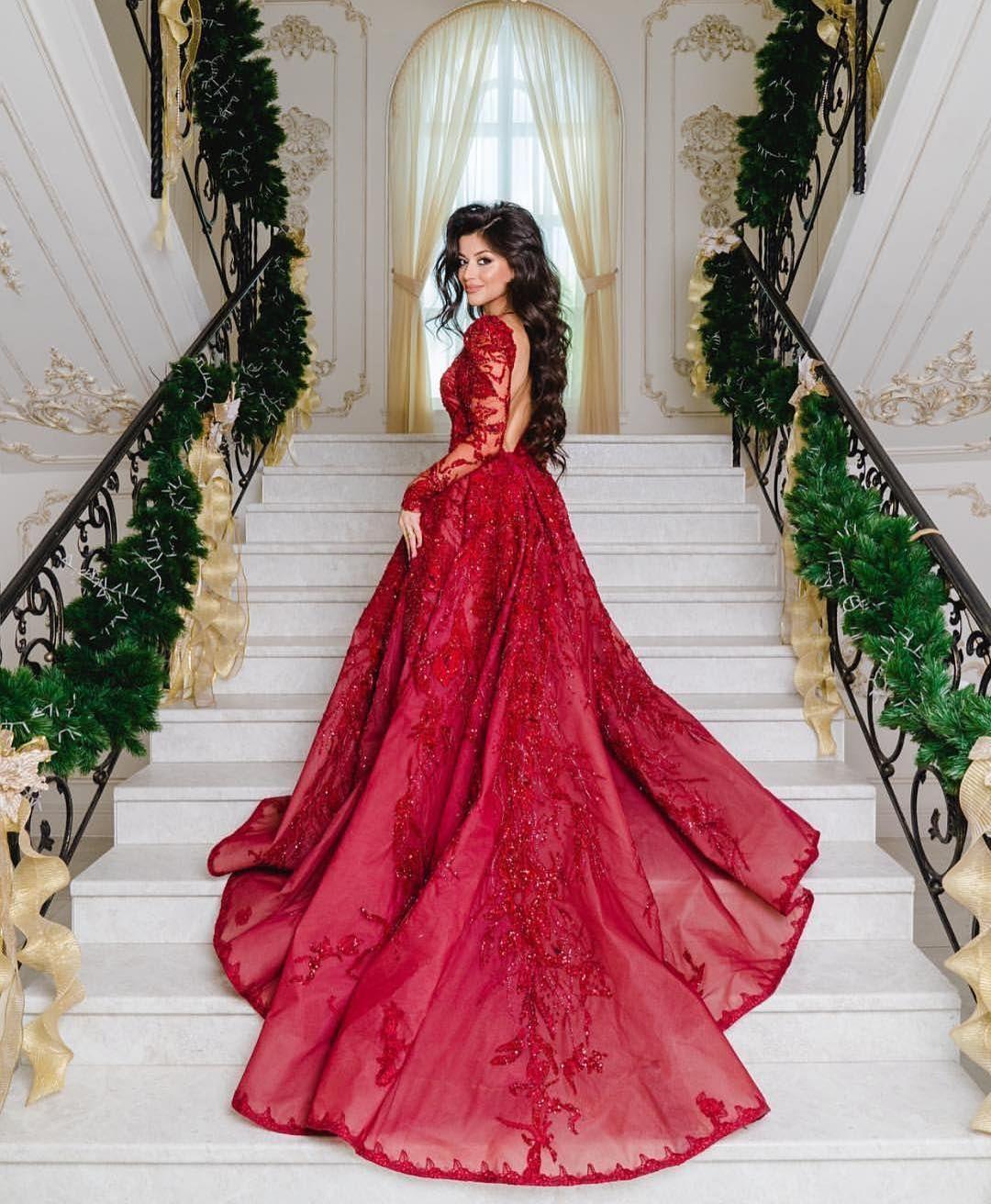 luxus abendkleider mit Ärmel | spitze abiballkleider lang