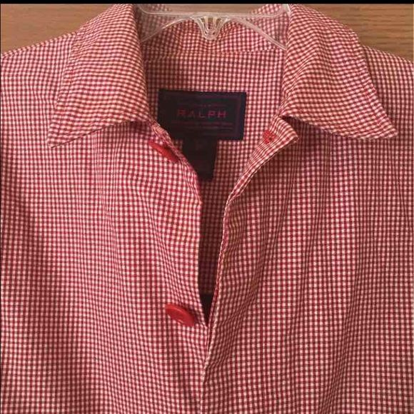 ☔️ Ralph Lauren RAINCOAT☔️ SPRING IS IN THE AIR!!   Adorable red/white checkered rain coat!  Big red buttons.  I found one small stain under the cuff that you would never see unless examining up close. Ralph Lauren Jackets & Coats