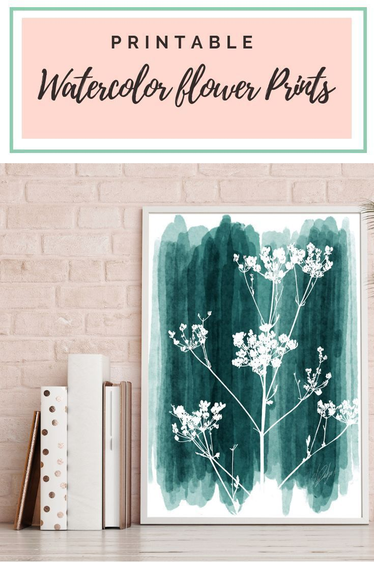 Printable Turquoise Flower Print Watercolor Painting Nature