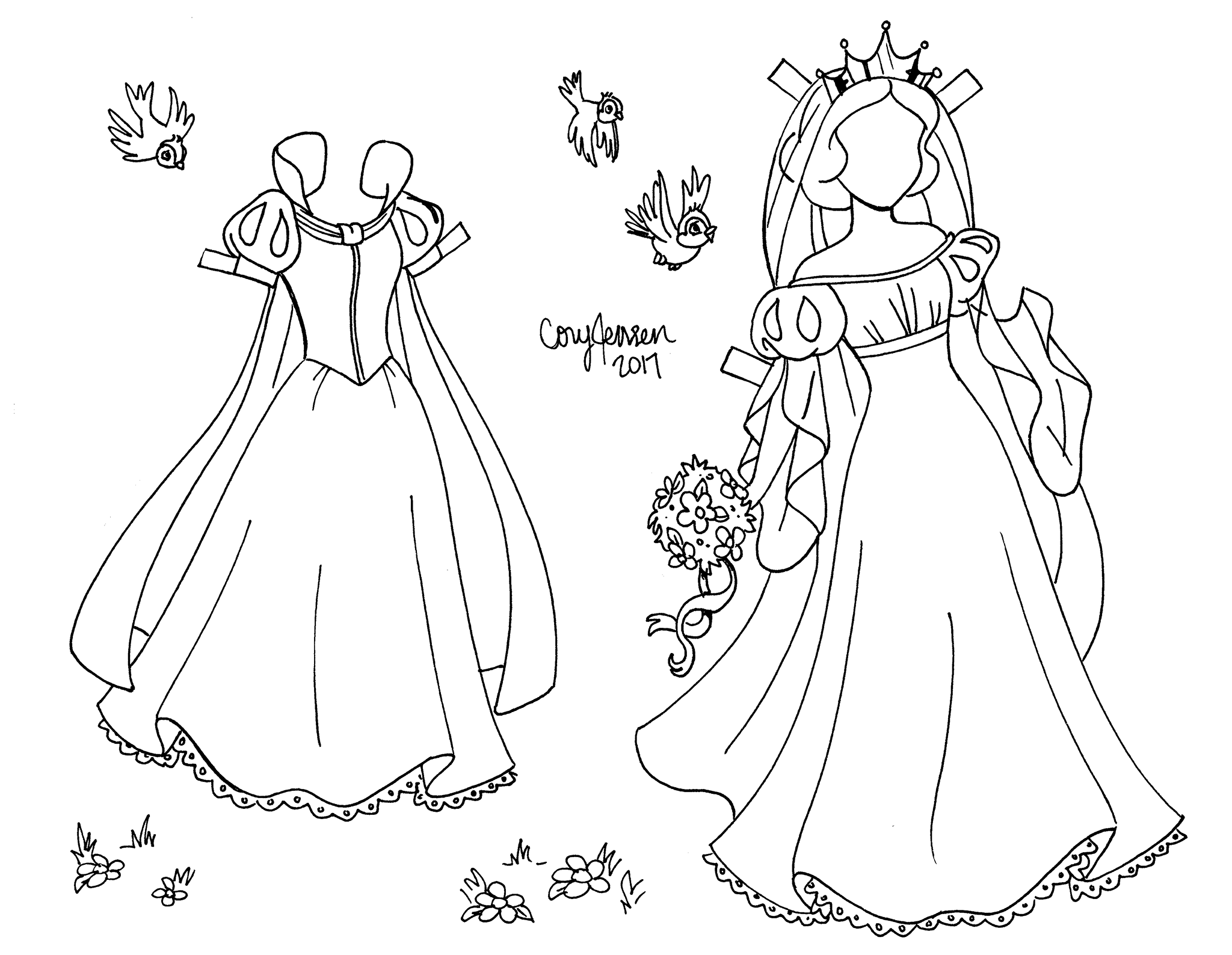 Snow White line art paper doll to color, by Cory Jensen (2