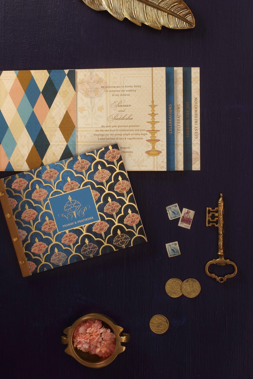 Indigo Maharaja Royal Rajasthan Traditional Vintage Wedding Gold Foil Wedding Card Book Invi Wedding Card Diy Wedding Card Design Indian Wedding Cards
