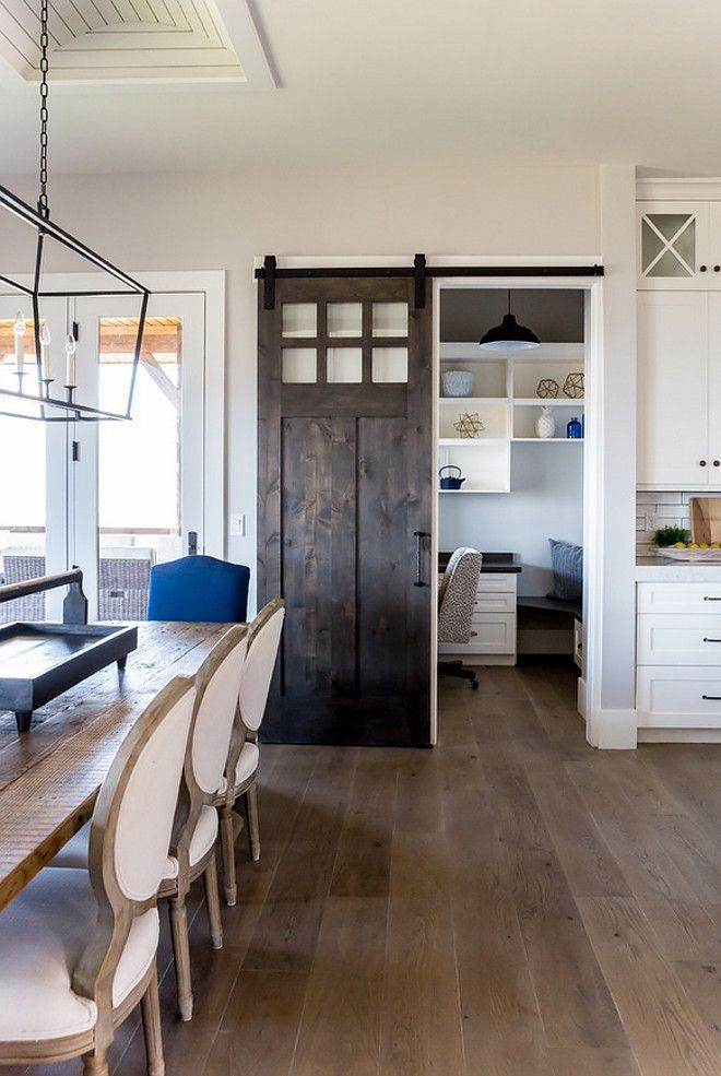 Kitchen Barn Door Opens To Small Office Farmhouse Kitchen Barn Door