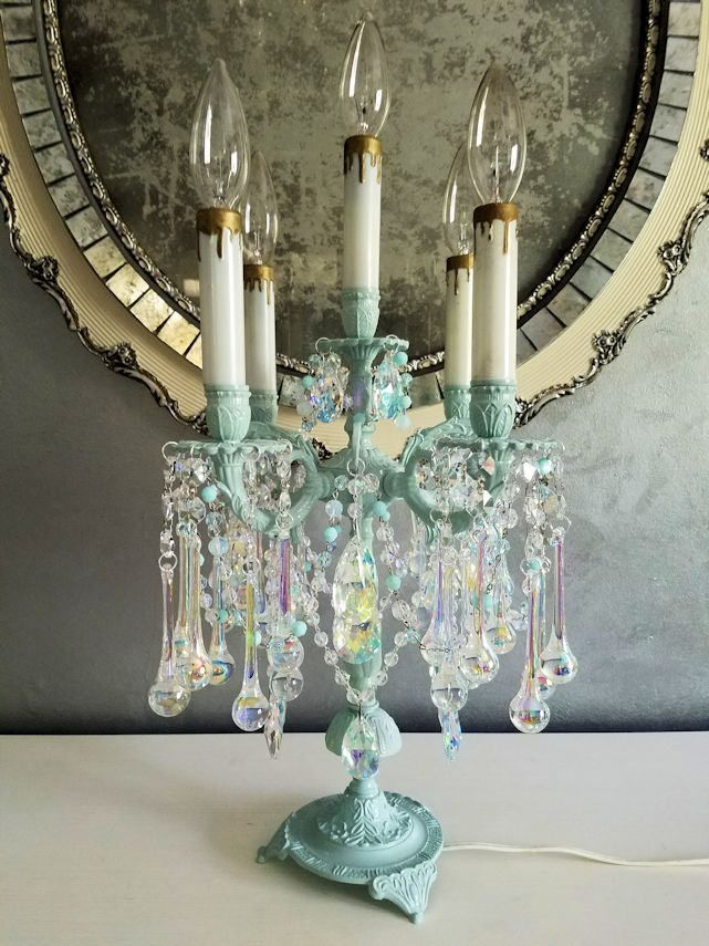 Reserved For Sheryl Antique Brass And Crystal Candelabra