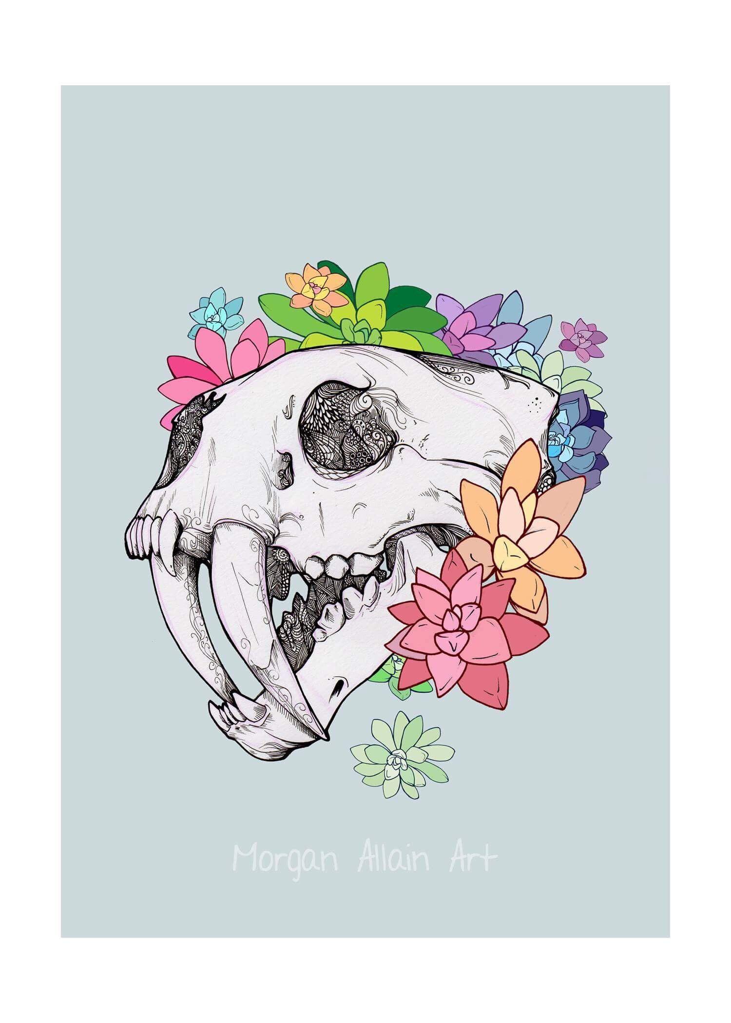 8b16f5170 Excited to share this item from my #etsy shop: Pastel Sabertooth Skull Art  Print #theinklinggirl #artprint #art #myart #myartwork #contemporaryart ...
