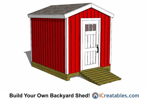 8x10 Tall Wall And Pre Hung Door Shed Plans 8x10 Shed Plans