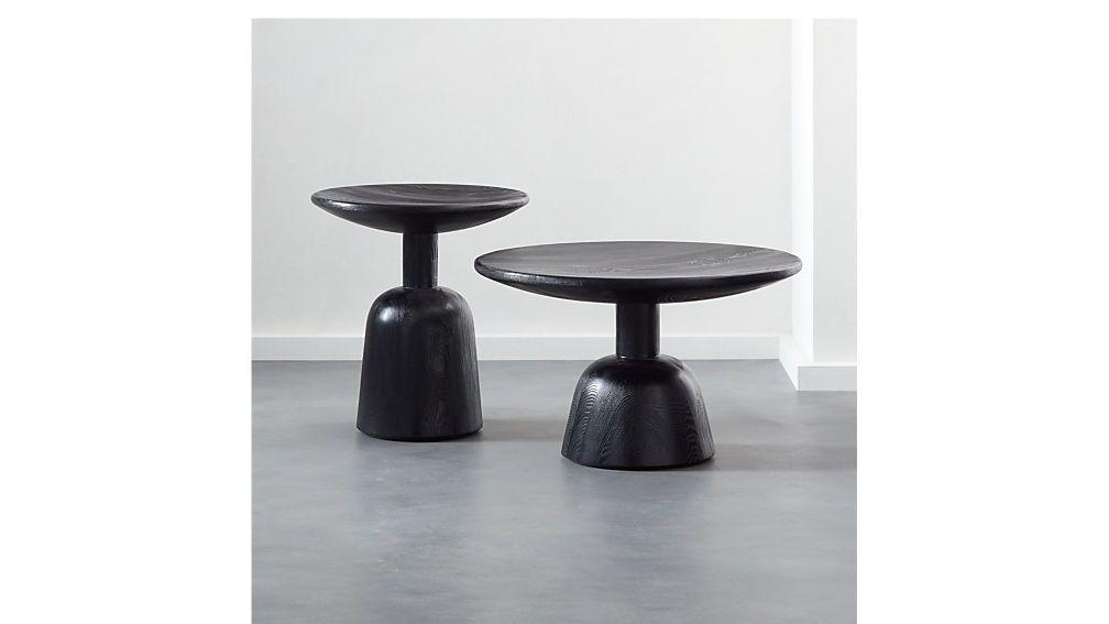 Macbeth hemlock black wood coffee table natural wood