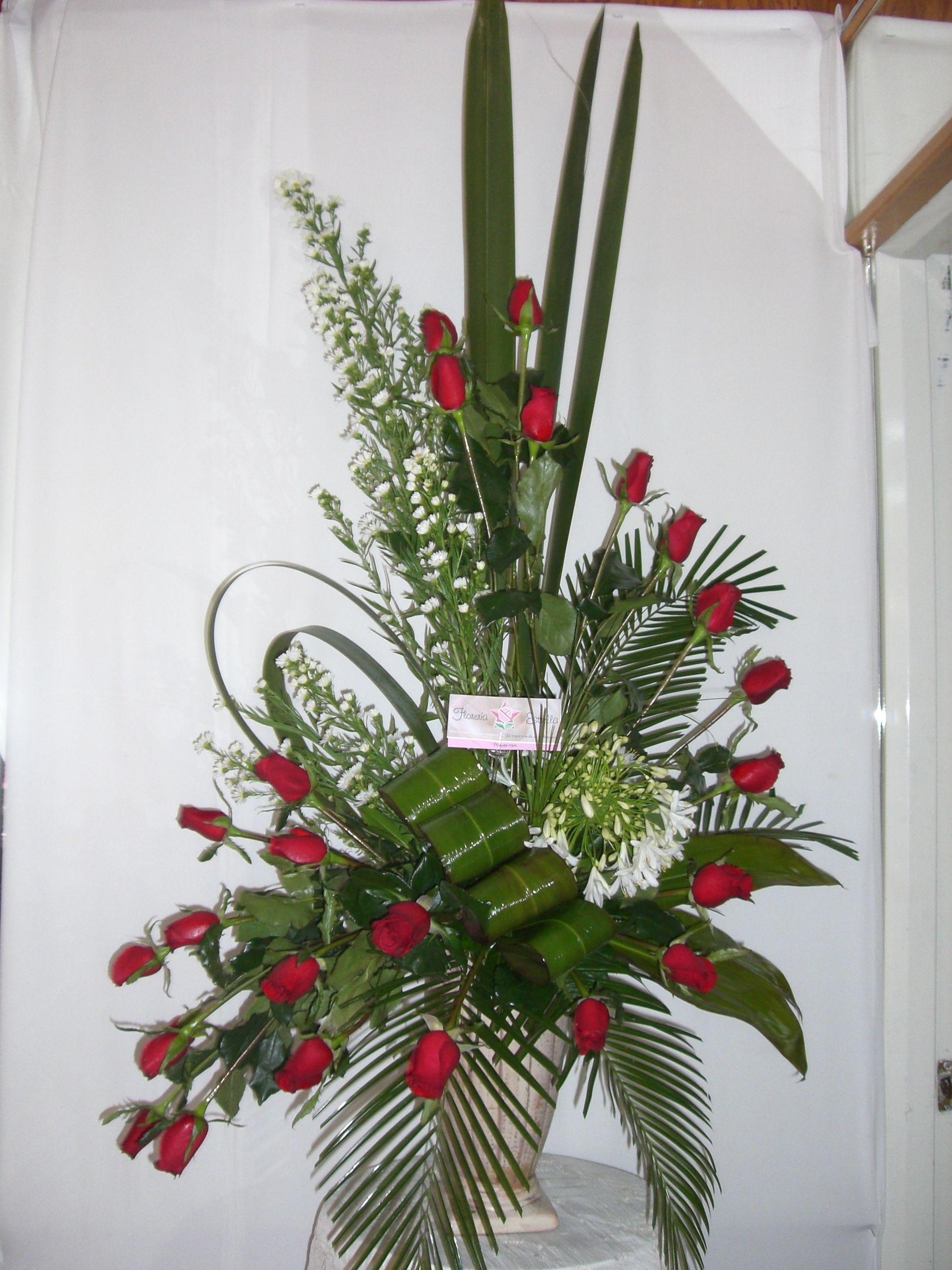 Arreglo florale rosas rojas arreglos florales de 24 - Arreglo de flores naturales ...