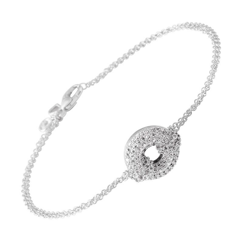 Filigranes Armband silber mit weißem Diamonfire-Zirkonia und rundem Pavé-Anhänger | Armbänder | Neuheiten | Diamonfire