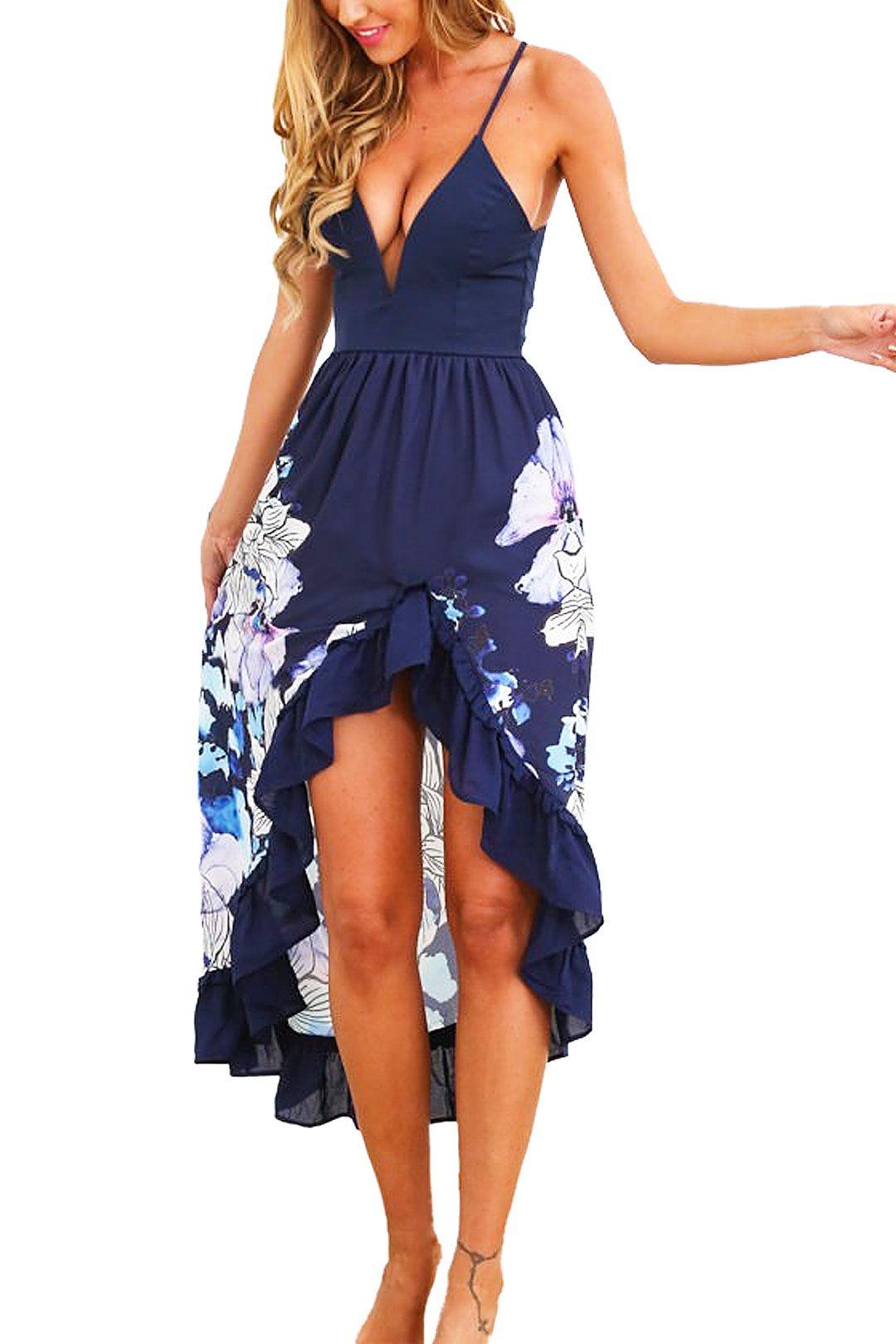 Navy Floral Ruffled Flamenco Cocktail Maxi Dress -YOINS